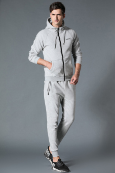 Baru ukuran besar pria cardigan berkerudung lengan panjang sweater (Abu-abu jas-tidak menentukan default rambut bundel kaki celana)