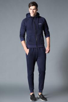 PENAWARAN Baru ukuran besar pria cardigan berkerudung lengan panjang sweater (Biru jas-tidak menentukan default rambut bundel kaki celana) TERLARIS