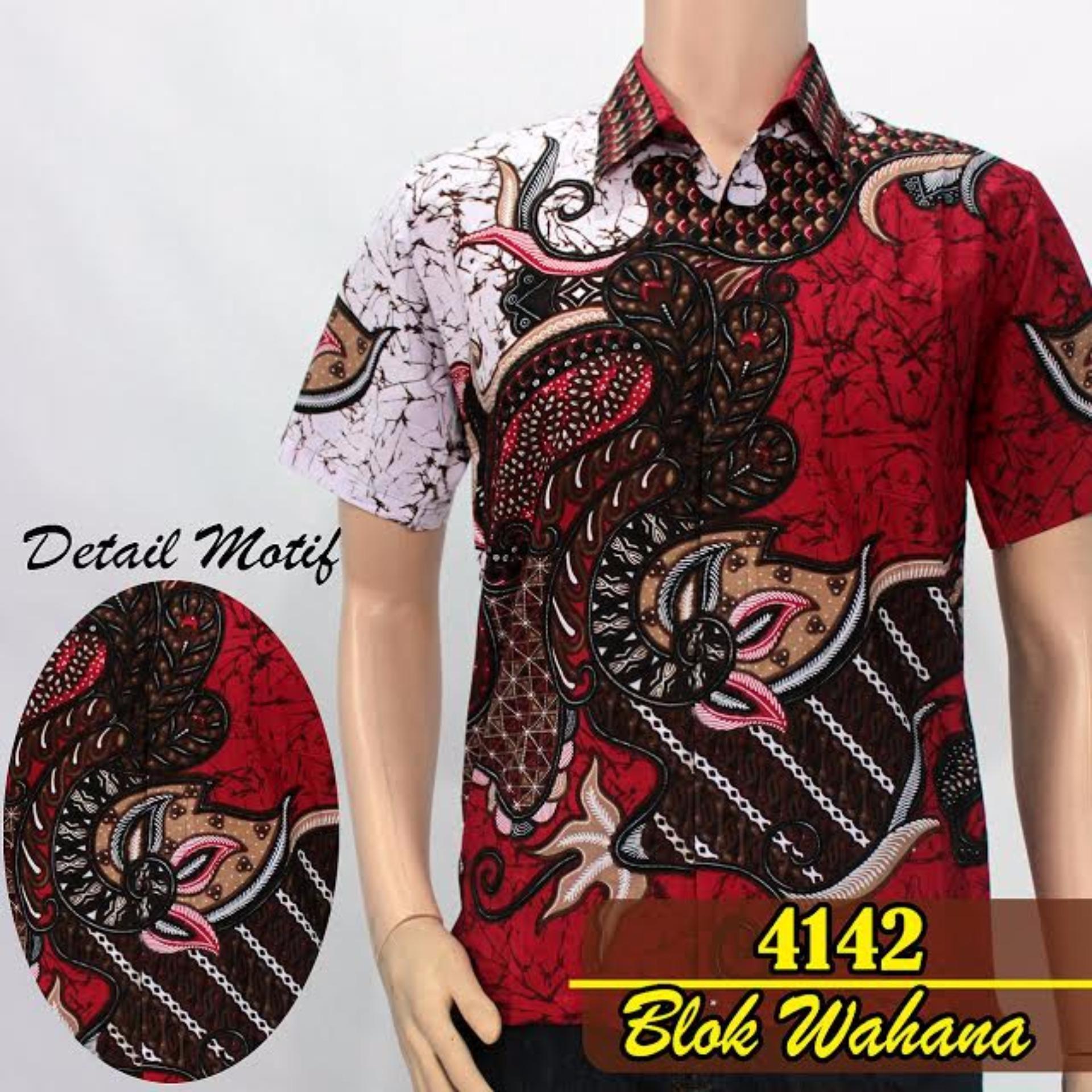 Batik Sofie 4121 Kemeja Wayang Lengan Pendek Pria Slimfit Abu Spec Hem Hks001 03 4142 Blok Wahana Merah