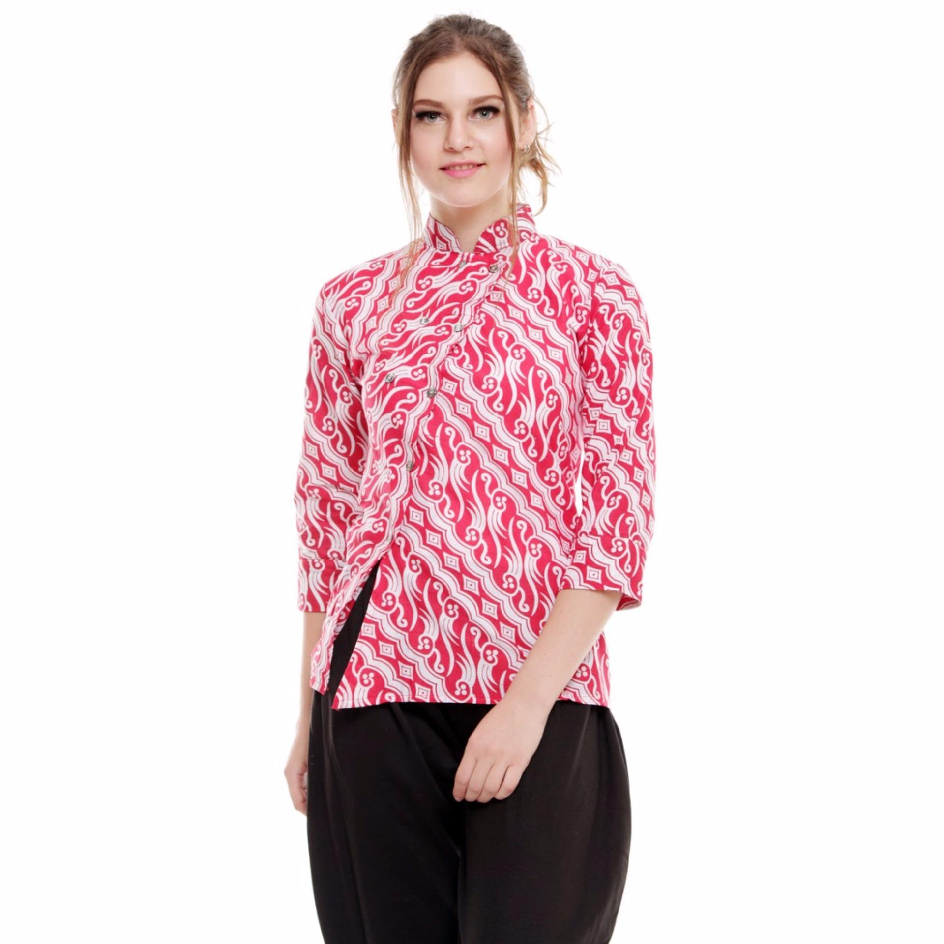 Batik Trusmi-Blus Lipat Atas-Merah .