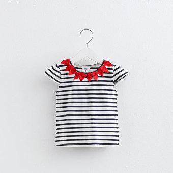Bayi Musim Panas Anak-anak Lengan Pendek Bergaris T-shirt T-shirt (