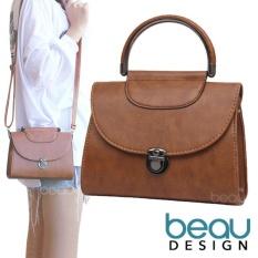 BEAU Tas Wanita Retro Casual PU Leather Crossbody Bahu Sling Bags
