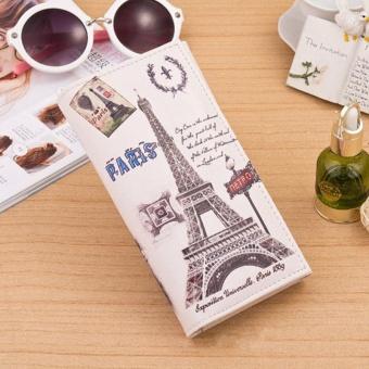 Beige Paris Car Pattern Women Long Purse Clutch Wallet Bag Card Holder - Paris iron ...