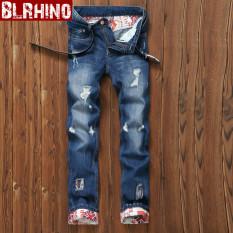 Beilexiniu Korea Fashion Style Pria Remaja Flanging denim Slim lurus celana jeans (E18 biru)