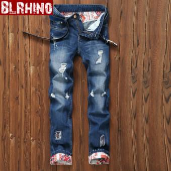 Pelacakan Harga Beilexiniu Korea Fashion Style Pria Remaja Flanging denim Slim lurus celana jeans (E18 biru) eShop Checker