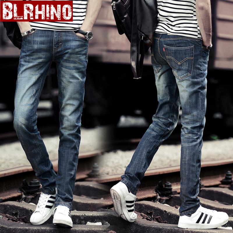 Beilexiniu musim gugur baru Slim lurus celana jeans (087 biru)