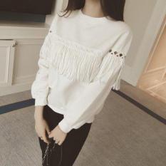Beishihan Kaos Wanita Model Longgar Berumbai Lengan Panjang Warna Putih/ Hitam (Putih)