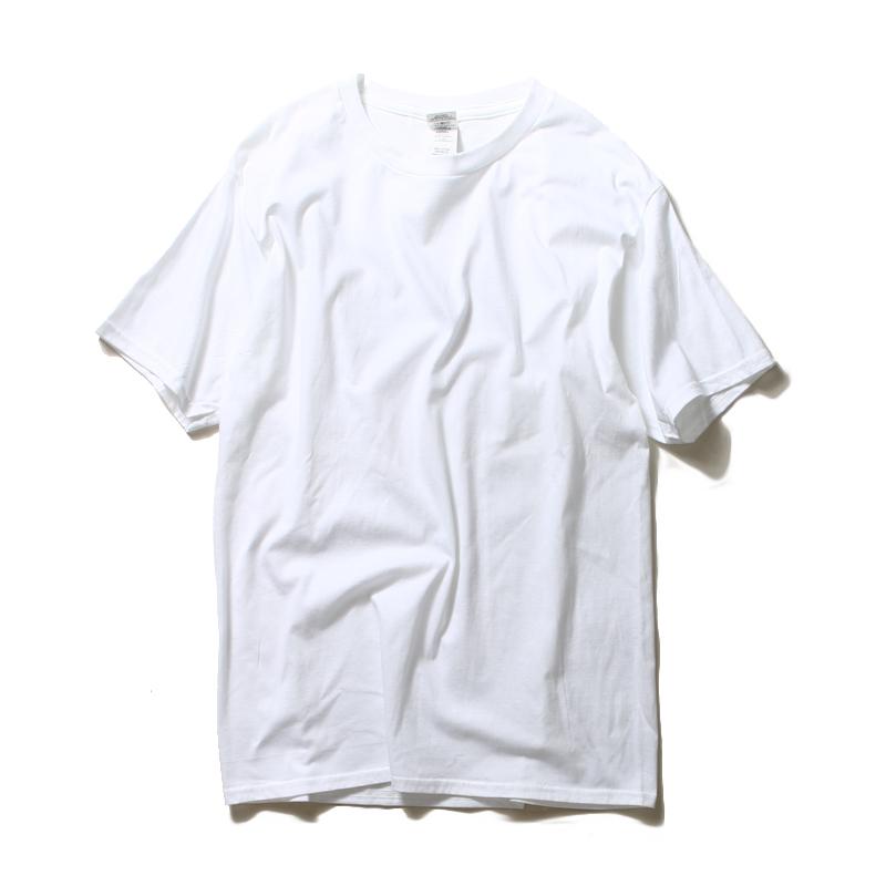 Benang katun warna solid pria Drum kasual bottoming katun kemeja lengan pendek t-shirt (