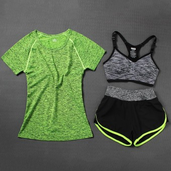 Berjalan Kebugaran Pakaian Legging Pakaian Pakaian Yoga (Set sembilan hijau t abu-abu kembali hijau pendek) (Set sembilan hijau t abu-abu kembali hijau pendek)