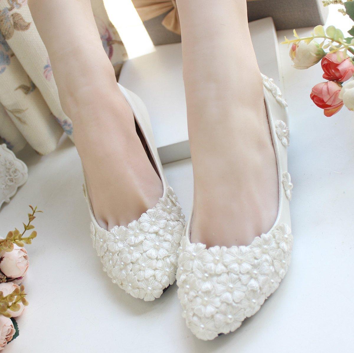 Berlian Imitasi Bunga Renda Putih Sepatu Pengantin Sepatu Pernikahan (Putih  dengan tinggi 11 cm) fa861ff32a