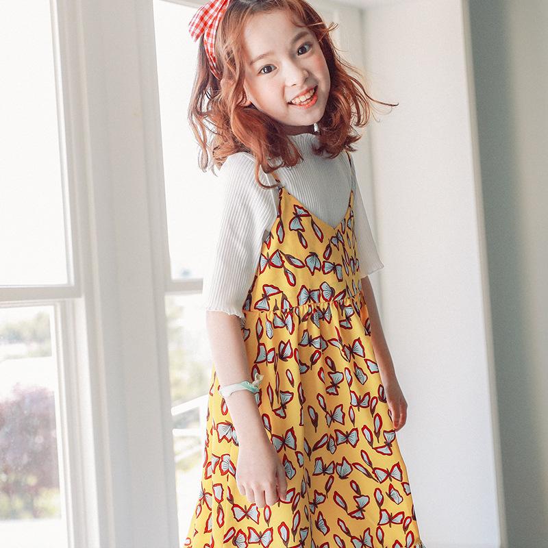 Besar Korea Fashion Style gadis dicetak harness tali gaun rok baru rok (Kuning)