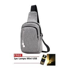 BEST  Bag Tas Selempang WATERPROOF 314 Kanvas Men Sling Back Cowo Cewe Messanger Shoulder Bag FREE LAMPU MINI USB - ABU