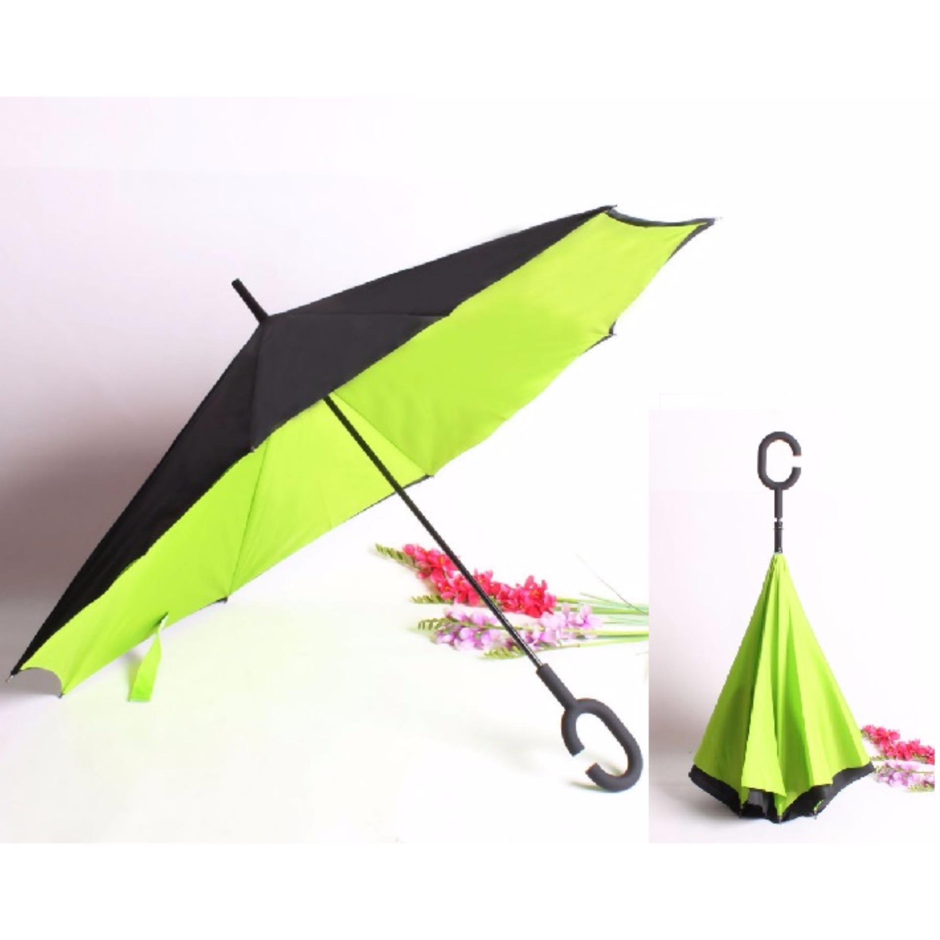 Cheap online BEST Payung Terbalik KAZBRELLA 01 Gagang C Reverse Umbrella PayungLipat / Mobil - HIJAU MUDA