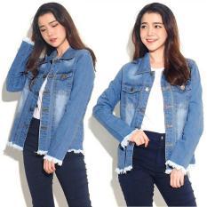 [BEST SELLER] UC Jaket Denim Oversize / Jacket Jeans Wanita Premium / Bomber Parka (loech ingefr) VC - BIRU TUA