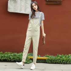 BF casual female New style student versatile pants suspender pants (Beige)