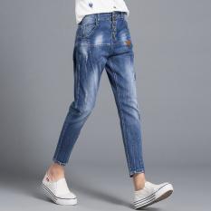 Bf kepribadian perempuan musim semi dan musim panas longgar celana runtuhnya denim celana (Cahaya biru