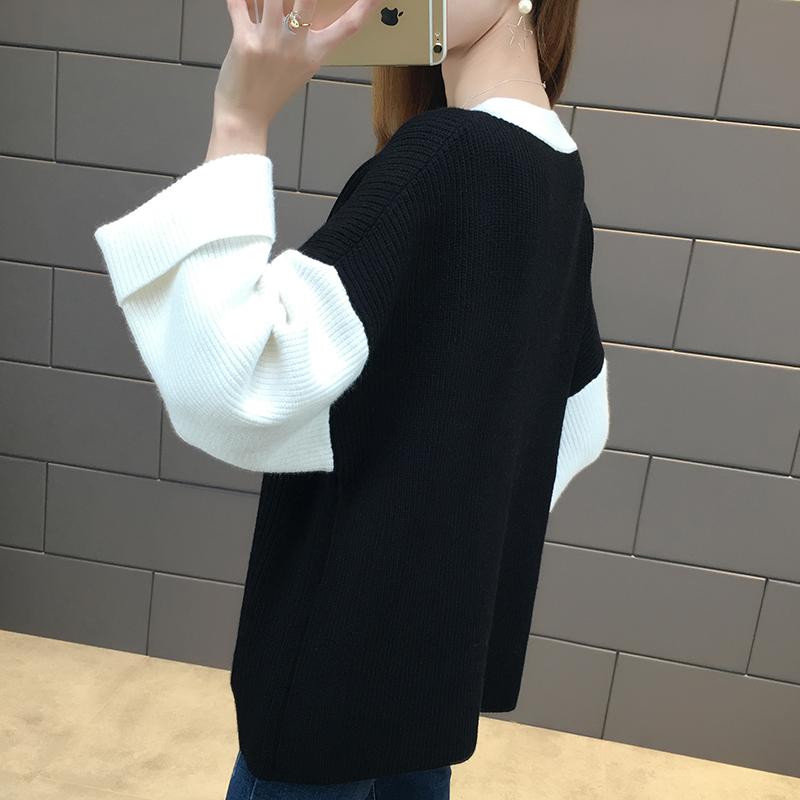 BF Korea Fashion Style garis kasar musim semi dan musim gugur baru merajut puncak sweater (