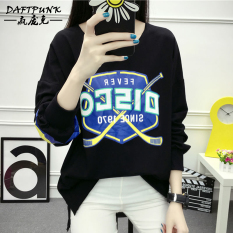BF versi Korea dari kapas perempuan longgar blus t-shirt (8807 klub sweater hitam