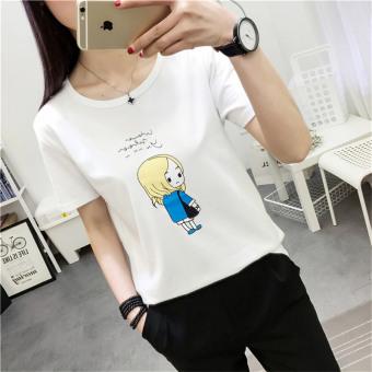 Longgar Korea Fashion Style Pria Lengan Pendek Cetak T Shirt Blok Source · BF versi Korea dari perempuan longgar mahasiswa baru lengan pendek t shirt 183 ...