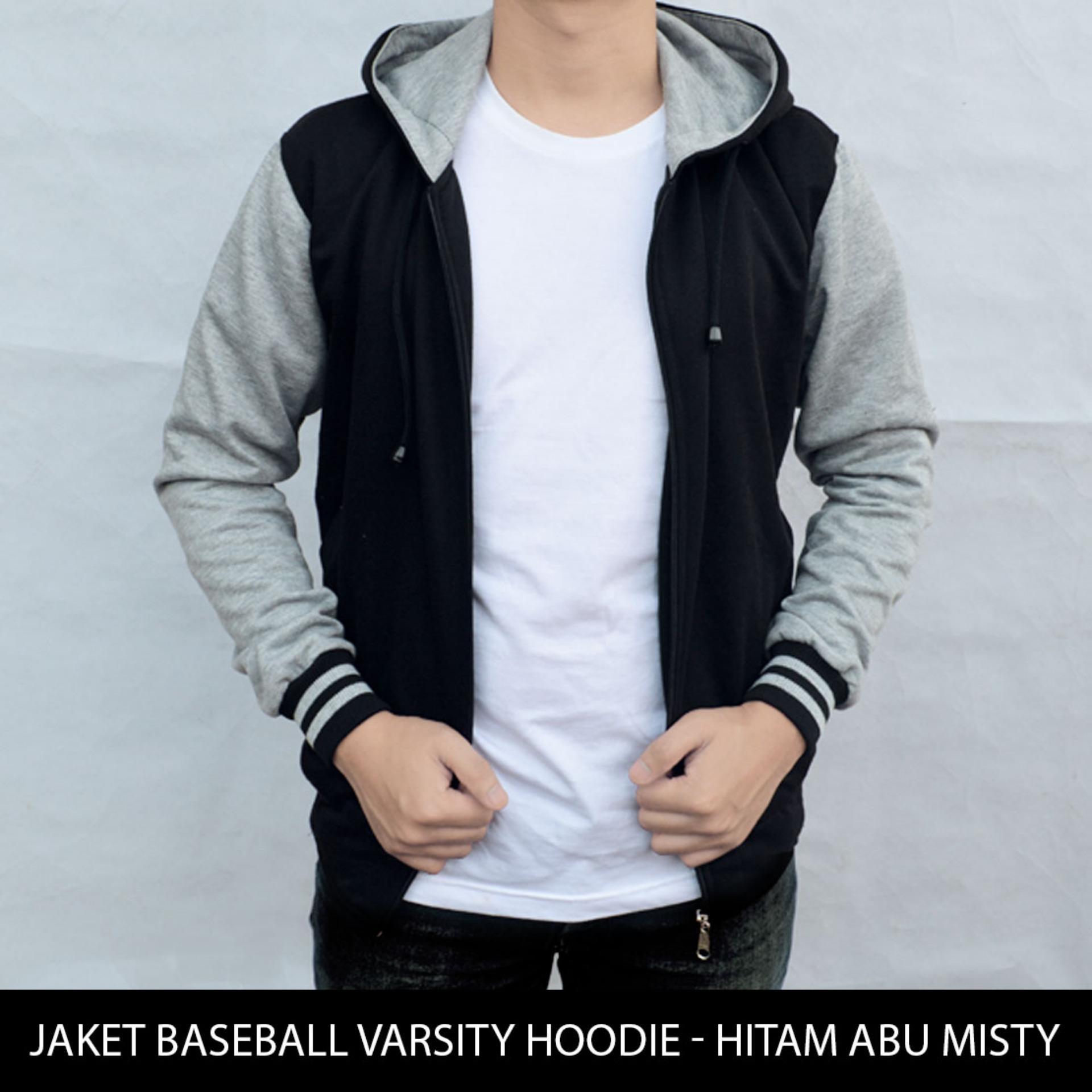 [BIG SIZE] Jaket Polos Baseball Varsity Hoodie - Hitam Abu Misty XXL-XXXL ...