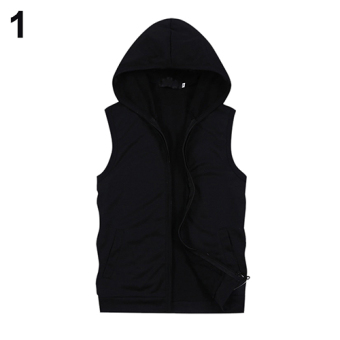 Bluelans(R) Men Summer Sleeveless Zip Fitness Sports Hooded Vest L (Black) - intl ...