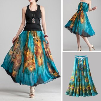 harga Bohemia Chiffon Peacock Print Elastic High Waist Full Length WomenMaxi Skirt Beach Long Skirt Off Shoulder Swing Mini Dress - intl Lazada.co.id