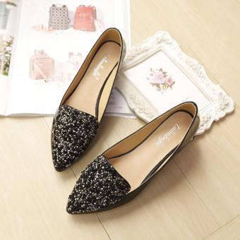Brand Designer Shoes Women Flat Heels Pointed Toe Shoes Sequin Black Party Wedding Shoes Slip-on Ballet Single Shoes 34-43 - 4