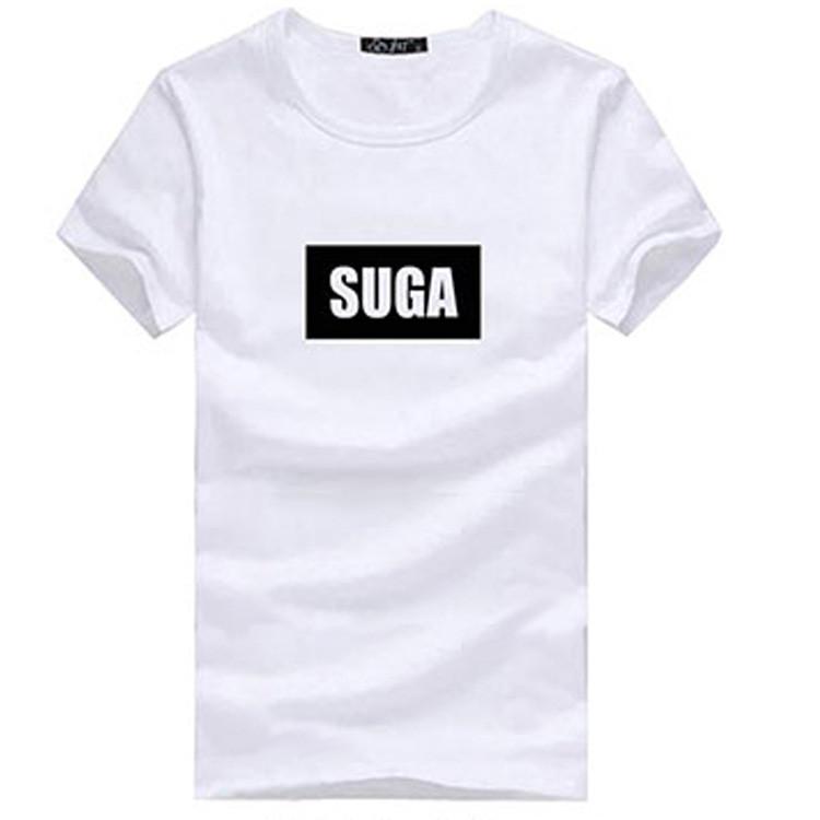 BTS anti peluru ayat yang sama dicetak t-shirt (SUGA putih)