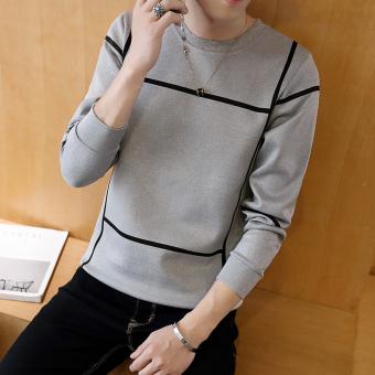 BUSHENBINNI Sweater Pria Aneka Warna Ditambah Beludru Membentuk Tubuh (Tic Tac Toe abu-abu)