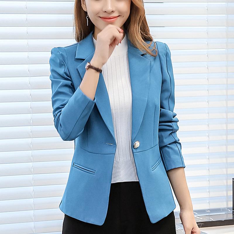 CALAN DIANA Blazer Wanita Versi Korea Pas Badan Lengan Panjang (Danau Biru RRR93)