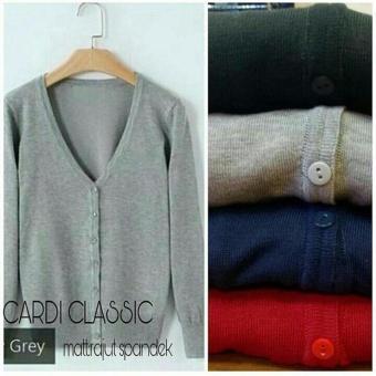 Cardi Classic Rajut Spandek - Grey