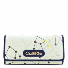 Carlo Rino 0303269-502-13 Long Three Fold Wallet (White,Blue)