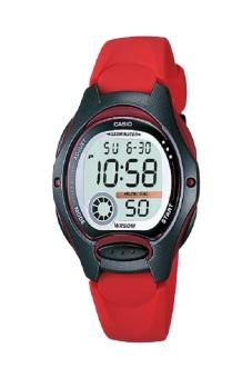 Gambar Casio Digital Jam Tangan Wanita Merah Strap Karet LW 200 4A