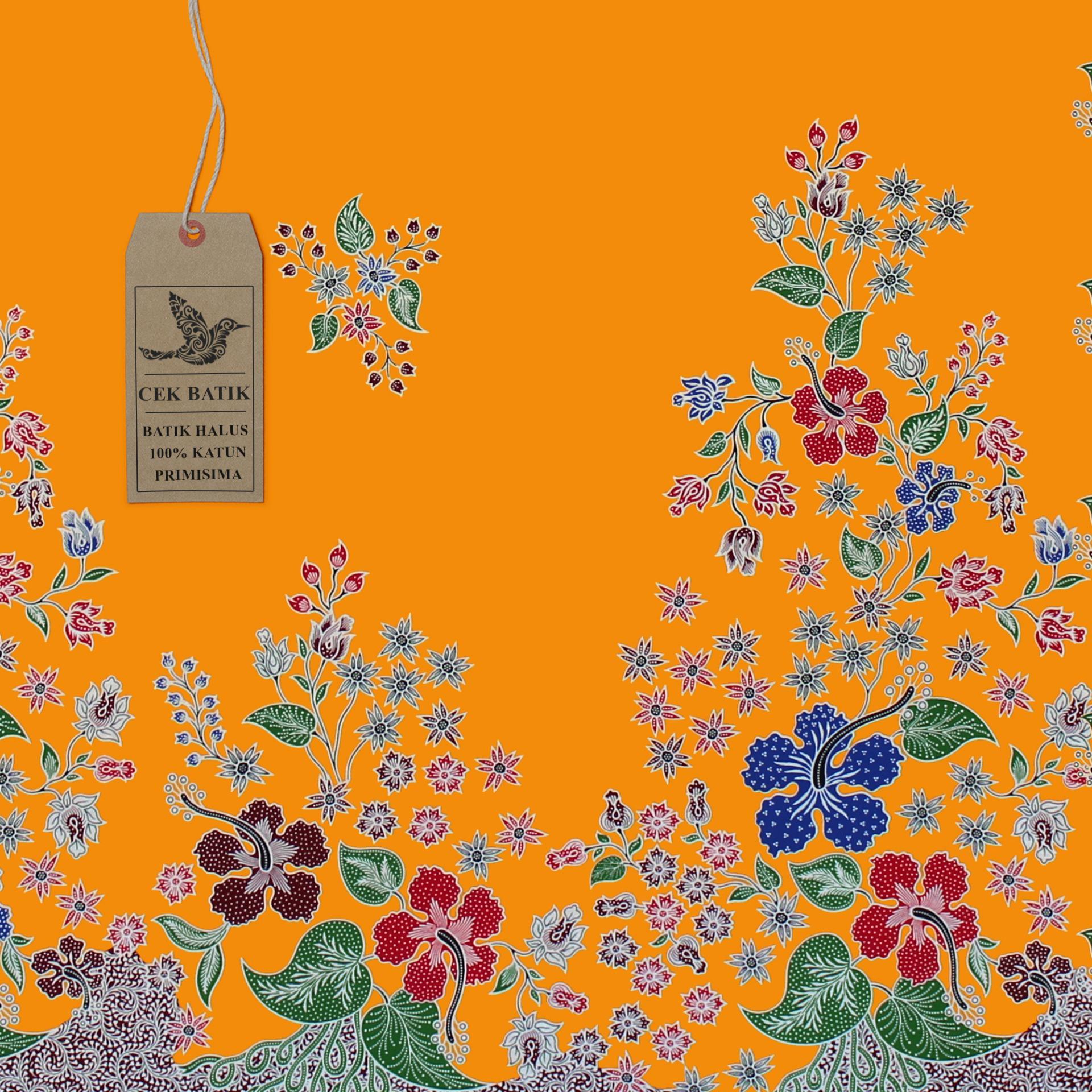 Cek Batik Kain Batik Motif Bunga Ayu Warna Dasar Hitam Manis