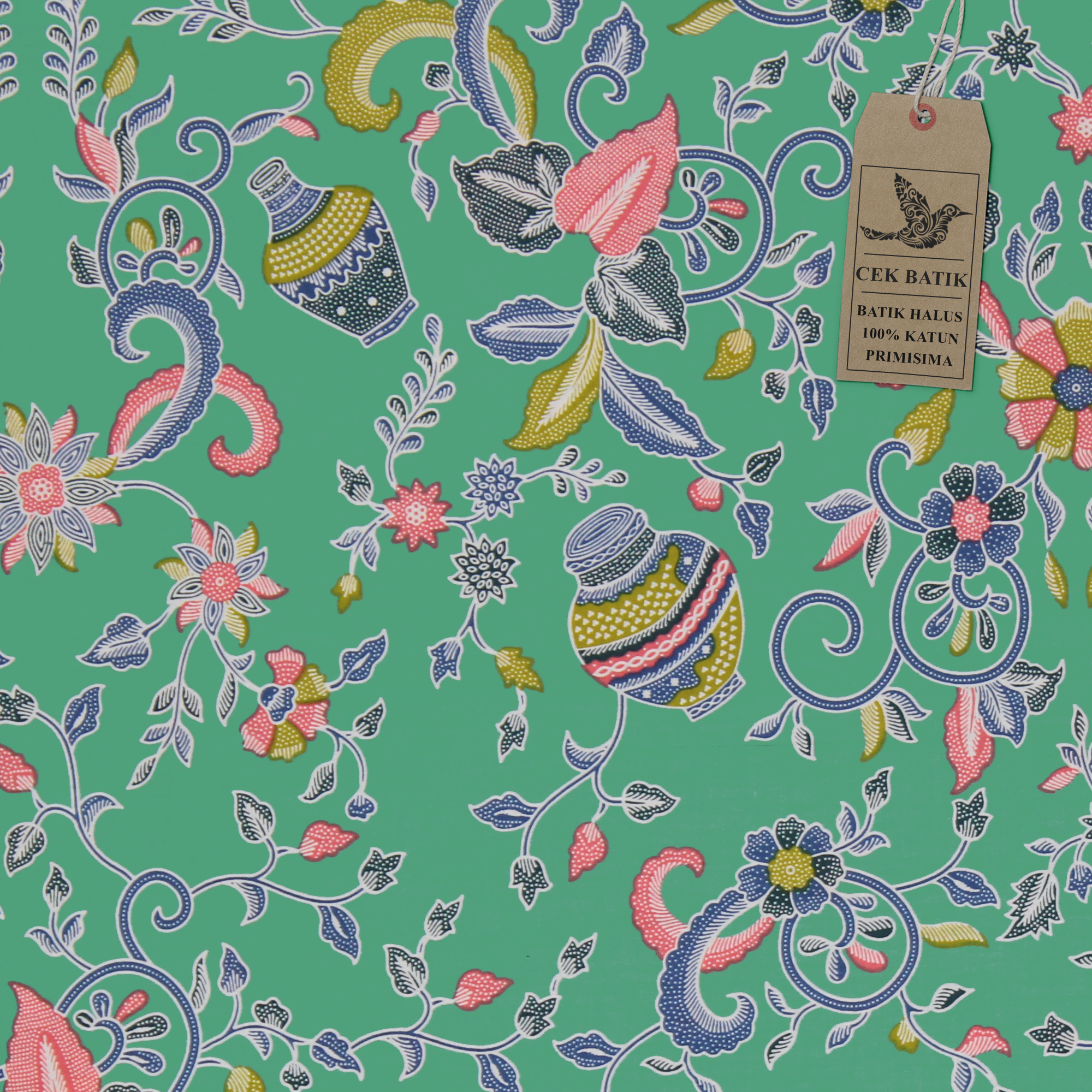 Cek Batik Kain Motif Guci Warna Unik Light Green Soft  Lazada