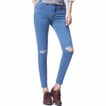 Celana Murah Jeans Ripped Sobek Wanita Light Blue