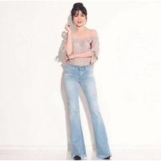 Celana Wanita Miss Hotty Fringe Cutbray  Biru Muda Jeans Rumbai Rawis