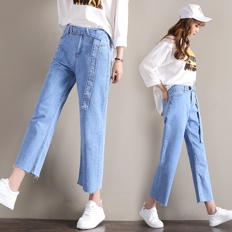 Chic Korean-style female straight New style ankle-length pants light-colored jeans