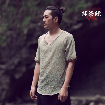 Chinese-style cotton linen summer short sleeved Plus-sized T-shirt (Teh