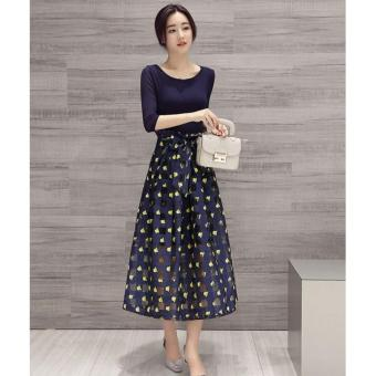 cicilia dress fashion wanita cantik-biru kaca