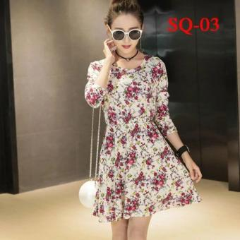 cicilia dress fashion wanita cantik-kerut bunga