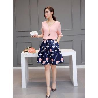 cicilia setelan fashion wanita cantik-bunga peach
