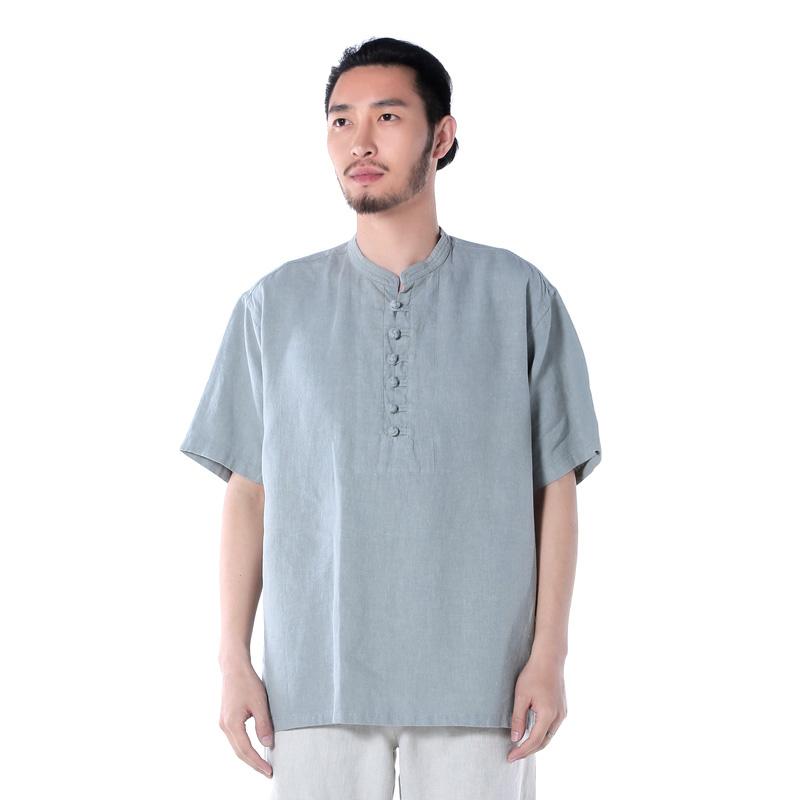 Cina gaya linen pria setengah baya setengah baya lengan pendek ukuran besar kemeja t-shirt