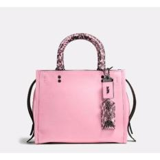 Coach Rogue 25 in Glovetanned Pebble Leather With Colorblock Snake -  Pink