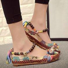 Colorful Dangkal Flat Dipercaya Sepatu Tunggal dengan Bordir Renda untuk Wanita Kenyamanan Sandles-Intl
