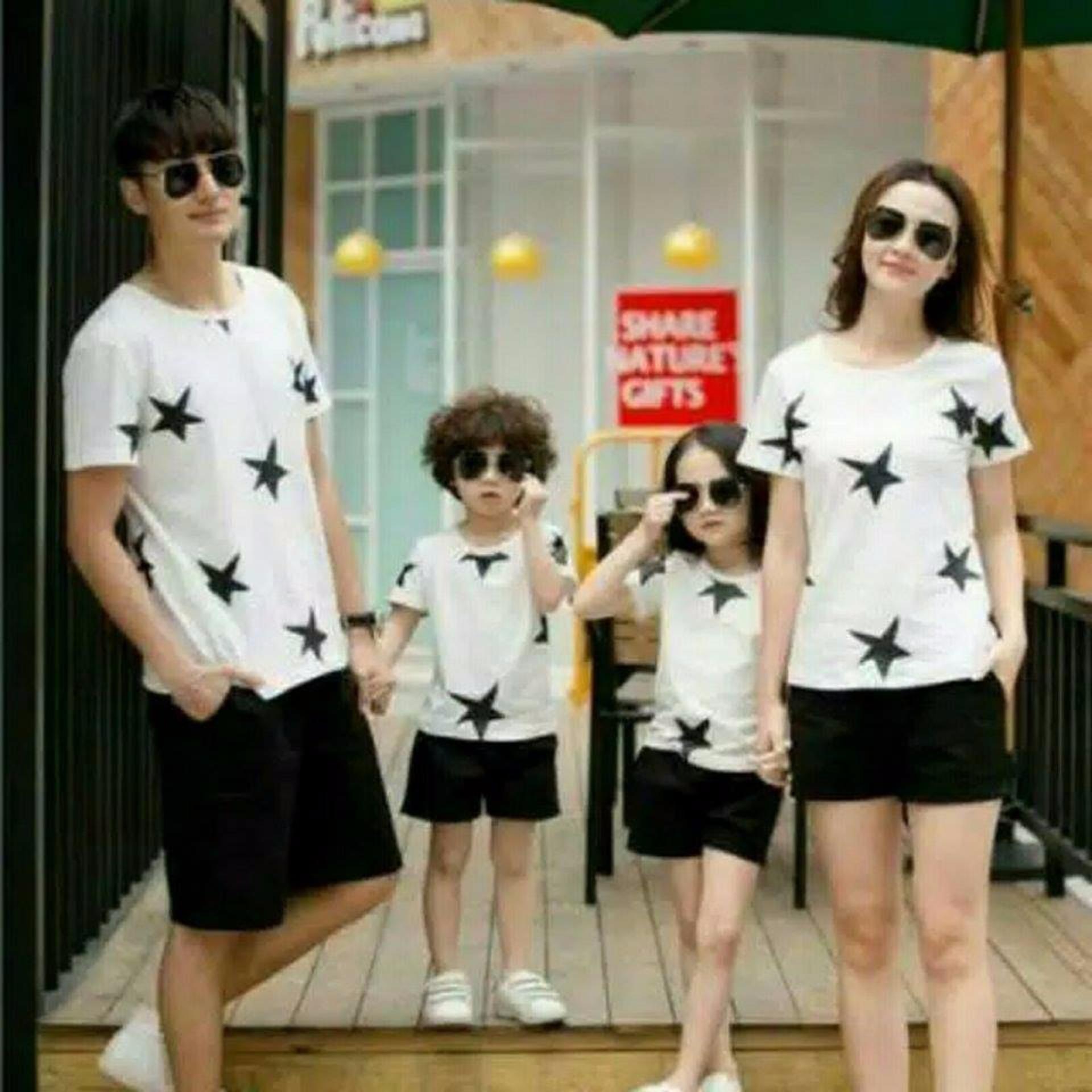 Bandingkan Toko Couple Lover Kaos Family Star White 2anak 098 Baju Keluarga Fashion