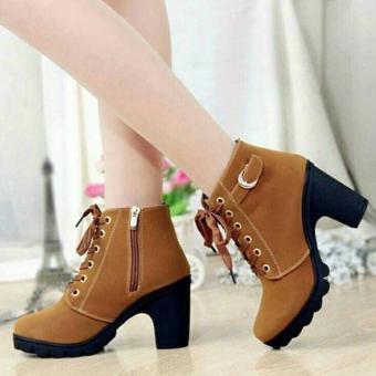 harga Cremline - Sepatu Boot Heels Wanita Casual SB099 - Tan Lazada.co.id