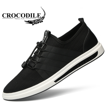 Gambar Crocodile Korea Fashion Style pria fashion sepatu kasual sepatu  (Model laki laki + Hitam 11577c6980