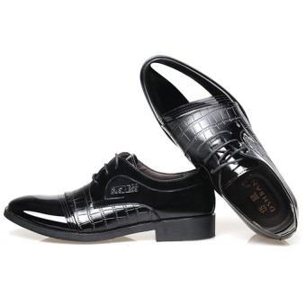 ... Crocodile Lines Men's Pointed Business Shoes (Black) - 4