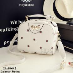 Cross Body Bag / Sling Bag  / Tas Selempang Wanita Korean Style Mini FLowers with Gold Ribbon -  Cream